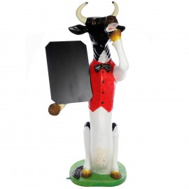 Stop-trottoir tableau statue vache en résine - 177 cm
