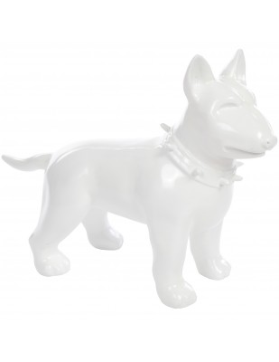 Statue chien bull terrier blanc en résine - Romain - 60 cm