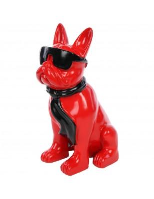 Statue chien bouledogue Français à lunette en résine -Picasso- 37 cm