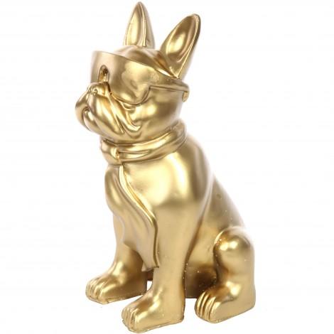 Statue chien bouledogue Français à lunette en résine dorée - Martial - 37 cm