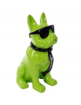 Statue chien bouledogue Français à lunette en résine -Taco - 37 cm