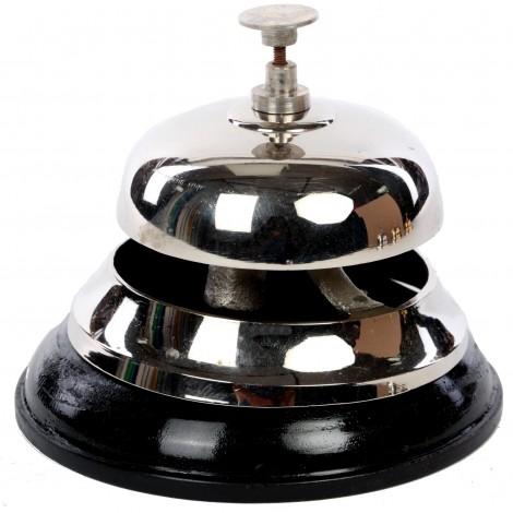 Sonnette de réception de comptoir de table d'office cloche bois et chrome - 12 cm