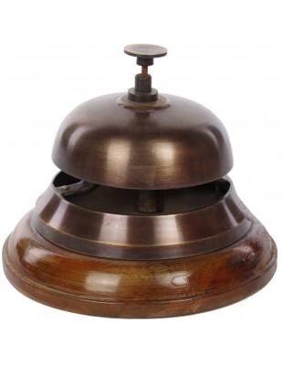 Sonnette de réception comptoir table d'office cloche bois et laiton vieilli - 12 cm