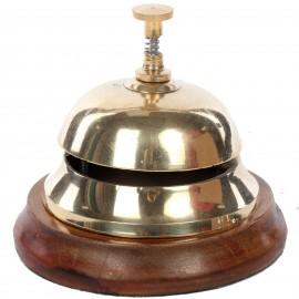 Sonnette de réception comptoir table d'office cloche bois et laiton doré - 12 cm