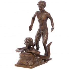 Statue érotique en bronze femme nue et faune - 11 cm