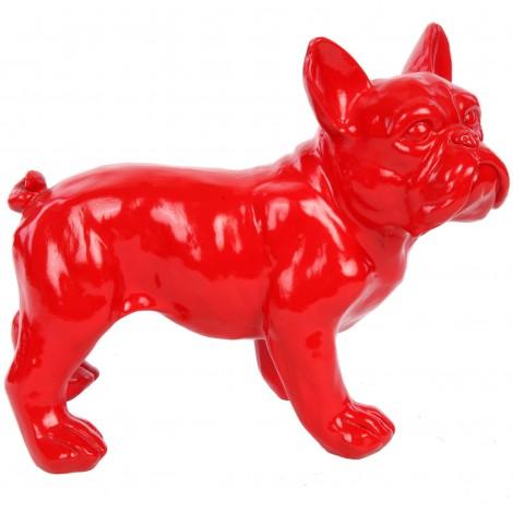 Statue chien bouledogue Français rouge en résine - Hugo - 27 cm