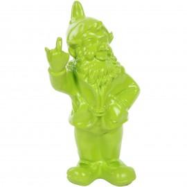 Statue en résine NAIN de jardin doigt d'honneur vert pomme - 33 cm