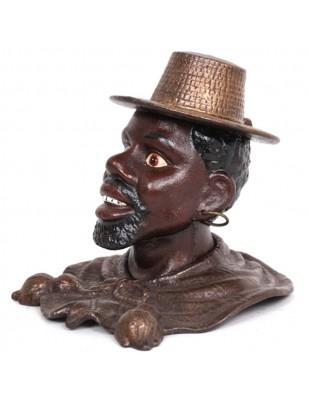 Tirelire homme noir en fonte - 18 cm