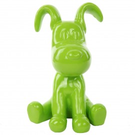 Statue chien Snoopy vert en résine - Jules - 28 cm