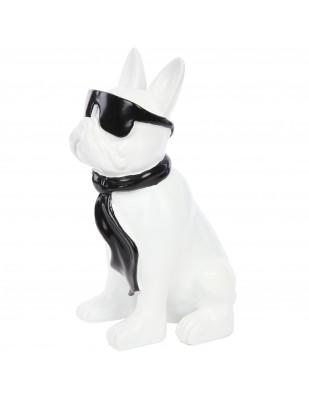 Statue chien bouledogue Français à lunette en résine blanc et noir -Polo- 37 cm