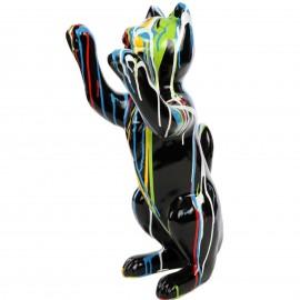 Statue en résine CHAT debout multicolore fond noir - 55 cm