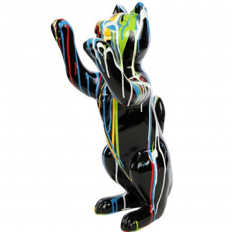 Statue en résine CHAT multicolore fond noir - 55 cm