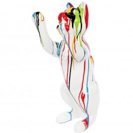 Statue en résine CHAT debout multicolore fond blanc- 55 cm