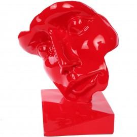 Statue visage en résine rouge - 42 cm