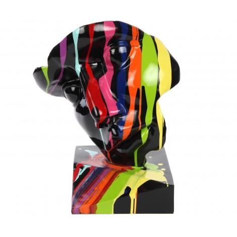 Statue visage en résine trash fond noir - 42 cm