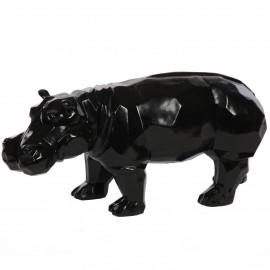 Statue origami hippopotame en résine noir - 96 cm