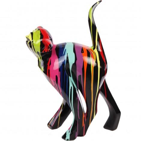 Statue en résine CHAT origami multicolore fond noir - 57 cm
