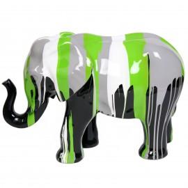 Statue en résine éléphant multicolore -Roger- 86 cm