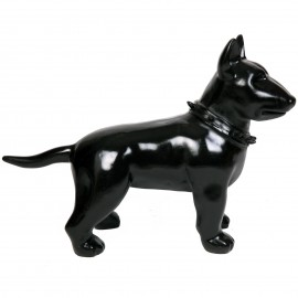 Statue chien bull terrier noir en résine - Fabien - 60 cm