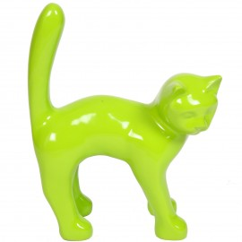 Statue en résine CHAT vert - Armand - 45 cm