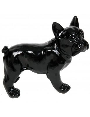 Statue chien bouledogue Français noir en résine - Harold - 27 cm