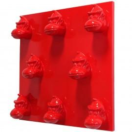 Tableau rouge en résine huit têtes de donkey kong gorille singe - 80 cm