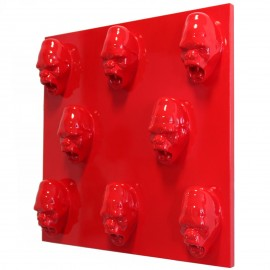 Tableau rouge en résine huit têtes de donkey kong gorille singe agressif - 80 cm