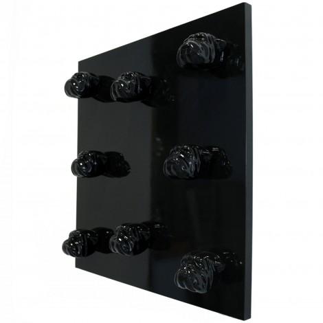 Tableau noir en résine huit têtes de chien bouledogue Anglais - 80 cm