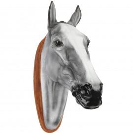 Statue tête de cheval grise en résine et bois - 75 cm