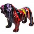 Statue en résine chien bouledogue anglais multicolore fond noir (Georges) - 58 cm