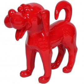 Statue en résine chien funny rouge (Daniel) - 40 cm