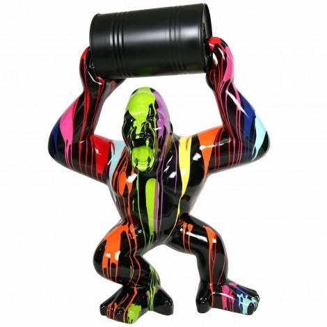 Statue en résine Donkey Kong gorille singe multicolore avec tonneau -Daryl- 140 cm
