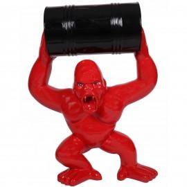 Statue en résine Donkey Kong gorille singe rouge avec tonneau -Darius- 100 cm