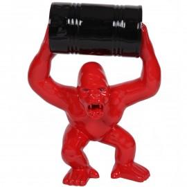 Statue en résine Donkey Kong gorille singe rouge avec tonneau -Max- 70 cm
