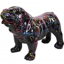 Statue en résine chien bouledogue anglais multicolore astre fond noir (Justin) - 58 cm