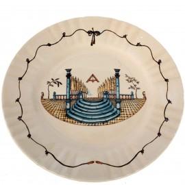 Assiette en faience franc-maçonnique, franc-maçon escalier diamètre - 23.5 cm