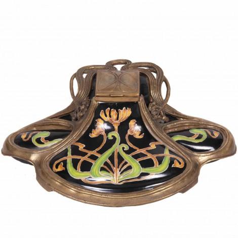 Encrier de style art nouveau faïence et bronze - 23 cm