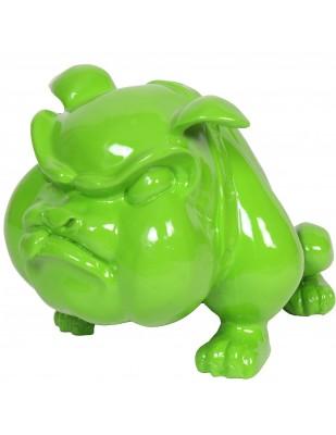 Statue en résine bouledogue Anglais vert qui tire la langue (Titi) - 39 cm