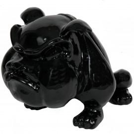 Statue en résine bouledogue Anglais noir qui tire la langue (Tristan) - 39 cm
