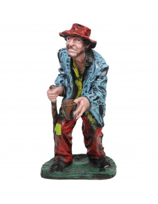 Statue en résine mendiant a la timbale - 90 - cm