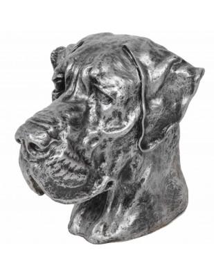 Statue chien tête de chien dogue allemand en résine argentée - 28 cm