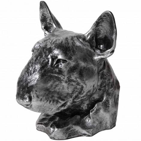 Statue tête de chien Bull Terrier en résine en résine argentée- 37 cm