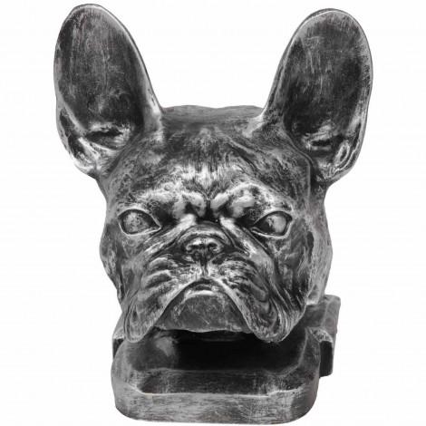 Statue tête de chien bouledogue Français en résine argentée - 37 cm