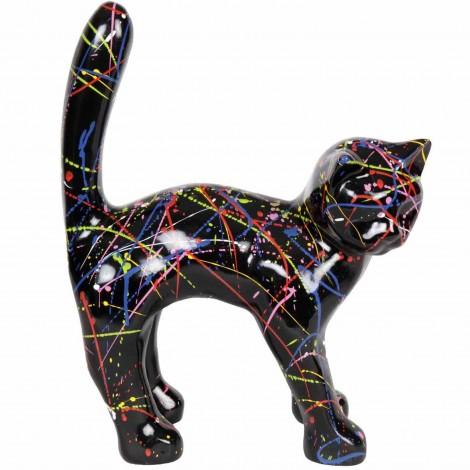 Statue en résine CHAT multicolore astre fond noir -Vivien- 45 cm