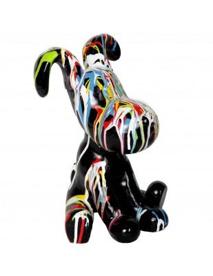 Statue chien Snoopy en résine multicolore fond noir - 28 cm