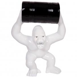 Statue en résine Donkey Kong gorille singe blanc avec tonneau -Malo- 70 cm