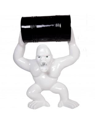 Statue en résine Donkey Kong gorille singe blanc avec tonneau -Doc- 100 cm