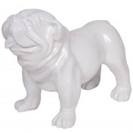 Statue en résine chien bouledogue anglais blanc - Timothée - 58 cm