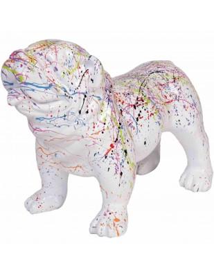 Statue en résine chien bouledogue anglais astre fond blanc - Georges - 58 cm