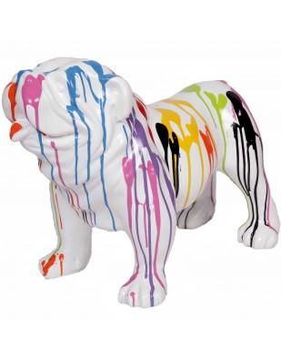 Statue en résine chien bouledogue anglais multicolore fond blanc - Fidèle - 58 cm